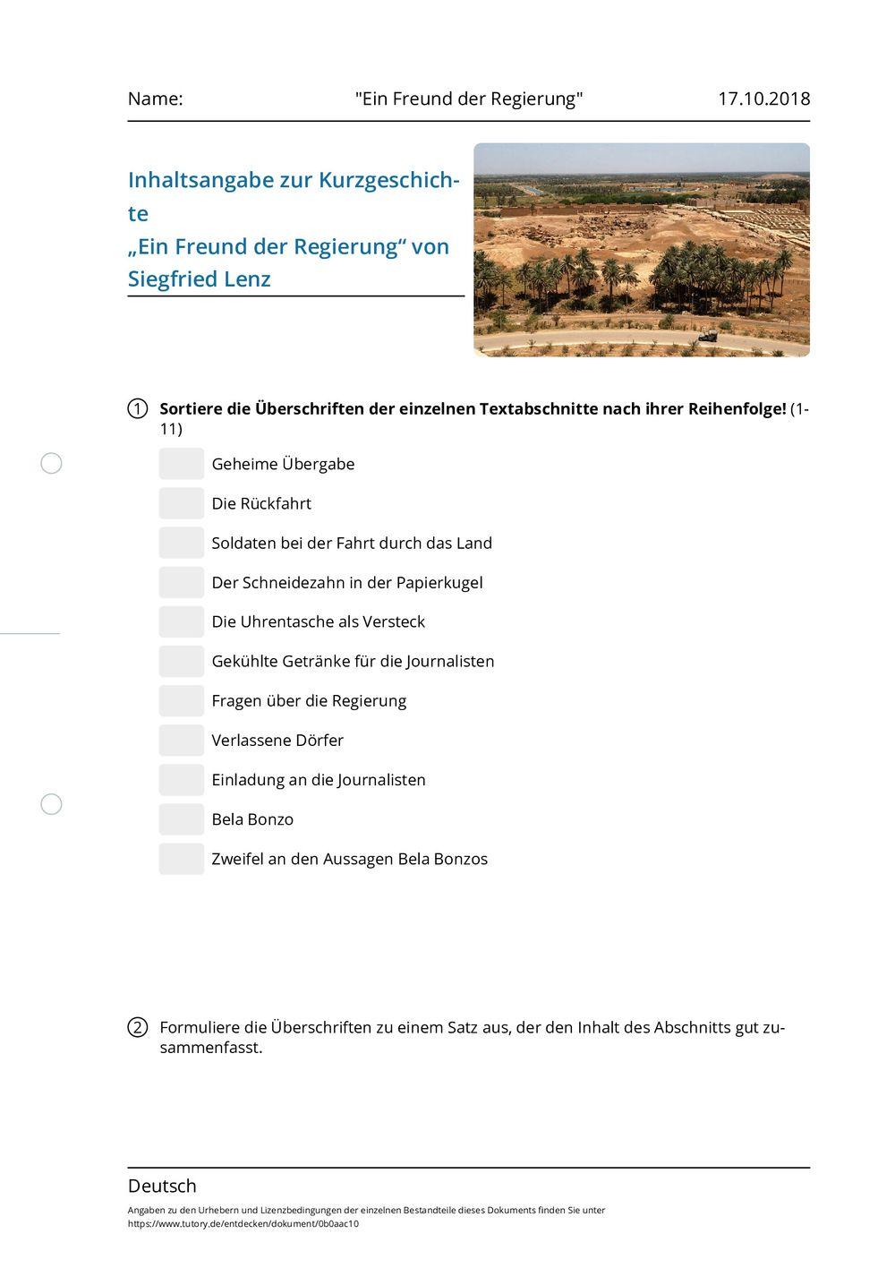 Arbeitsblatt - Ein Freund der Regierung - Deutsch