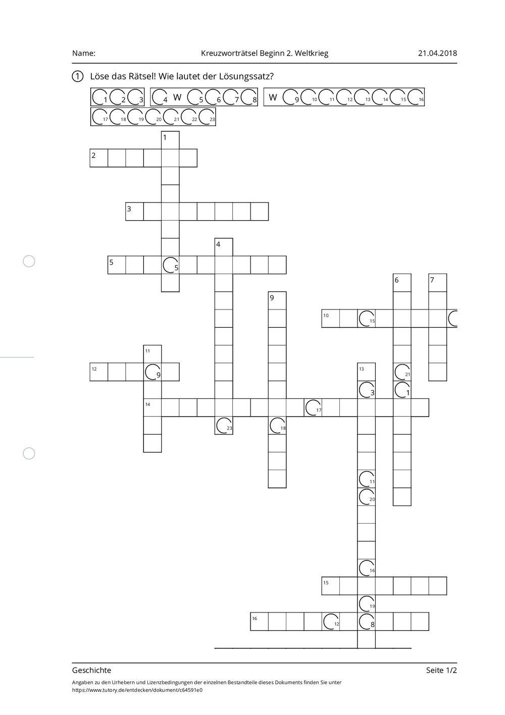 Beginn Kreuzworträtsel