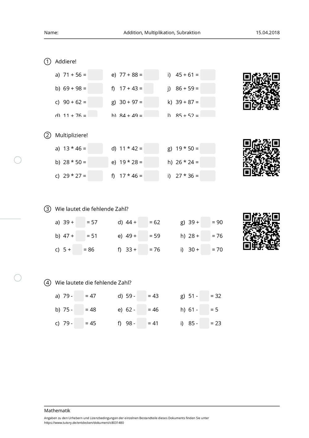 arbeitsblatt addition multiplikation subraktion mathematik volkshochschulkurs. Black Bedroom Furniture Sets. Home Design Ideas