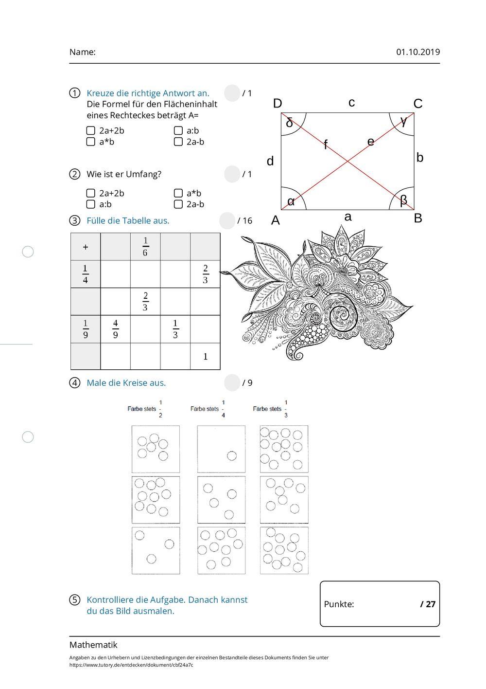 arbeitsblatt   mathematik  tutoryde