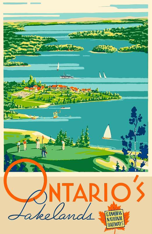Vintage Travel Poster Ontario Canada