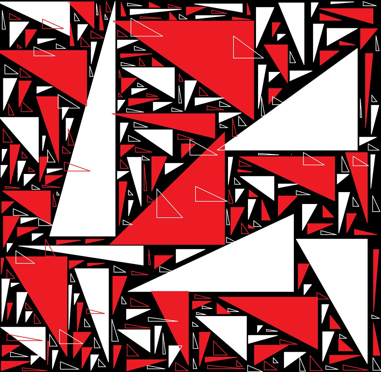 dreieck, rot, schwarz