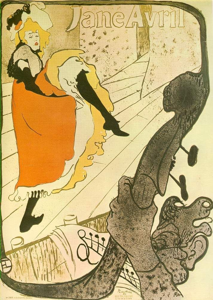 Henri de Toulouse-Lautrec: Jane Avril (1893), Farblithographie
