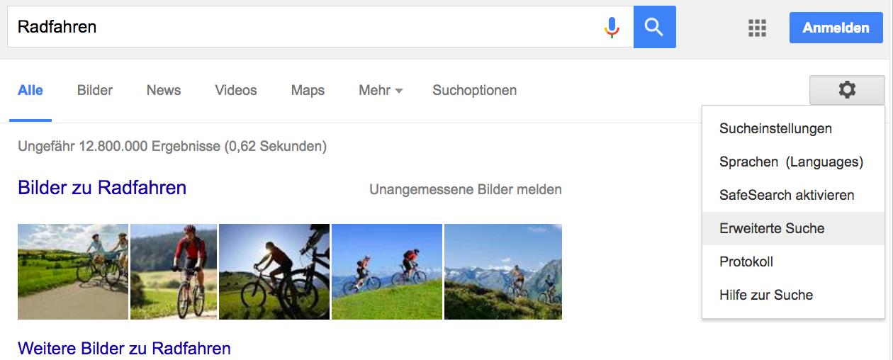 Screenshot der Google-Seite nach der normalen Suche – oben rechts seht ihr das Zahnrad