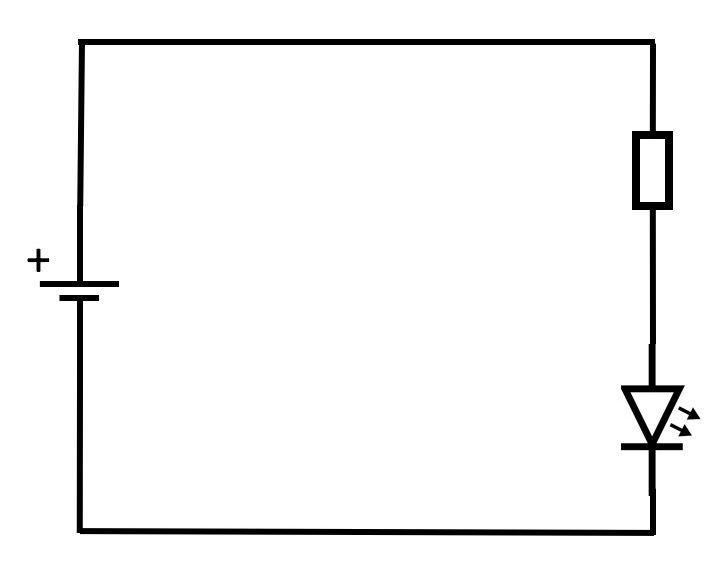 Schaltskizze: Vorwiderstand und LED