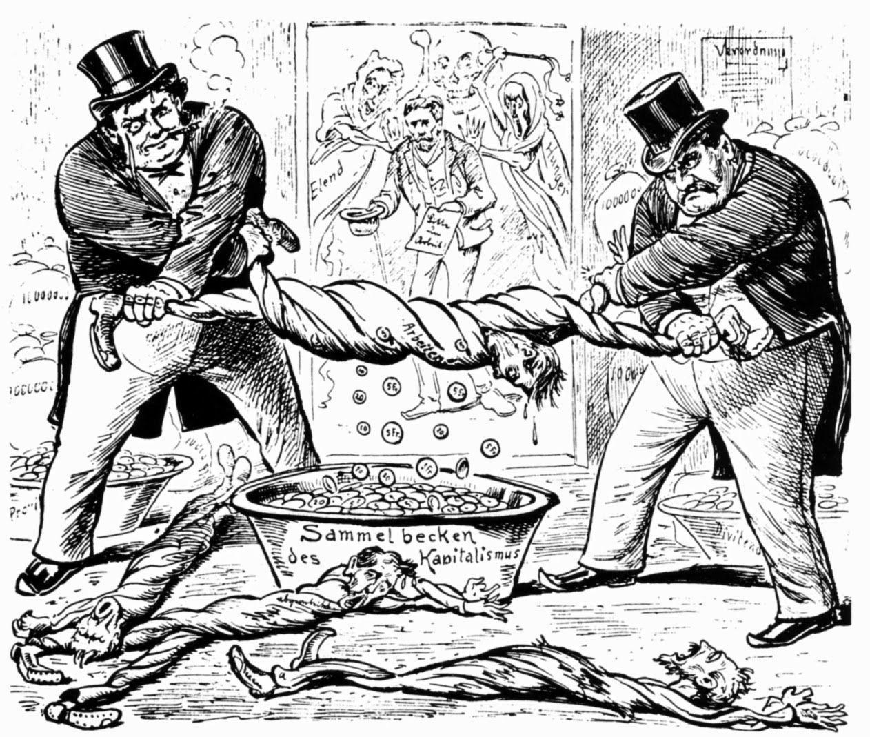 «Das neue Verhältnis zwischen Arbeiter und Unternehmer». Karikatur von 1896
