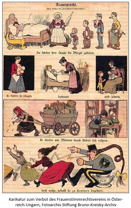 Karikatur zum Verbot des Frauenstimmrechtsvereins in Österreich-Ungarn
