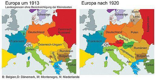 Schematisch gezeichnete Karten Europas vor und nach dem Ersten Weltkrieg. Grafik © Kinderbüro Universität Wien / Franz Stürmer