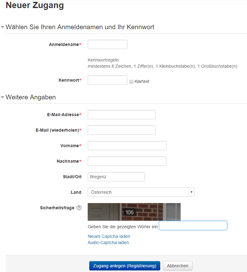 Screenshot der Lernplattform